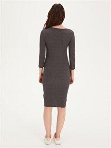 Kadın Kendinden Desenli Esnek Hamile Elbise