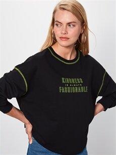 Siyah Yazı Baskılı Salaş Sweatshirt 9WN635Z8 LC Waikiki