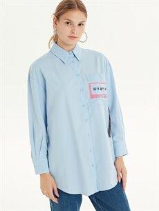 %58 Pamuk %42 Polyester  Slogan Baskılı Cepli Gömlek