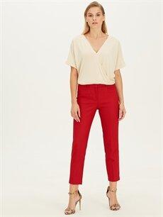 %64 Polyester %2 Elastan %34 Viskon Normal Bel Esnek Standart Kumaş Pantolon Bilek Boy Düz Paça Kumaş Pantolon