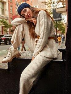 %75 Akrilik %25 Polyester Beli Lastikli Triko Pantolon