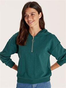 Yeşil Kapüşonlu Yakası Fermuarlı Sweatshirt 9WO070Z8 LC Waikiki