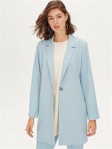 %87 Polyester %13 Elastan Uzun İnce Ceket Uzun Blazer Ceket