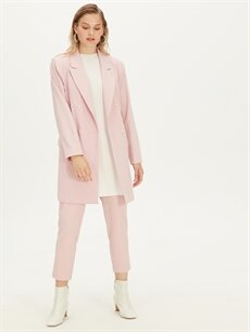 %87 Polyester %13 Elastan Uzun Ceket Kruvaze Yaka Uzun Blazer Ceket