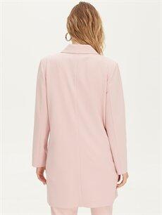 %87 Polyester %13 Elastan Kruvaze Yaka Uzun Blazer Ceket