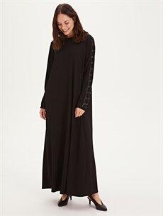 Siyah Kolları Aplikeli Uzun Esnek Elbise 9WO435Z8 LC Waikiki
