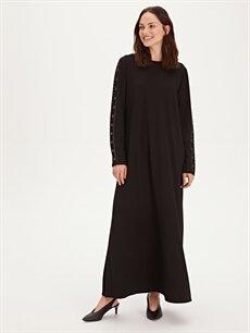 %26 Polyester %72 Viskoz %2 Elastan Uzun Uzun Kol Kolları Aplikeli Uzun Esnek Elbise