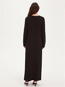 Kadın Kolları Aplikeli Uzun Esnek Elbise