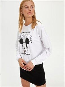 Beyaz Mickey Mouse Baskılı Sweatshirt 9WO475Z8 LC Waikiki