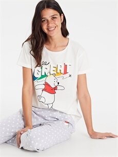 %100 Pamuk Winnie The Pooh Baskılı Pamuklu Pijama Takımı