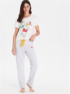 LC Waikiki Gri Winnie The Pooh Baskılı Pamuklu Pijama Takımı