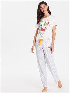 Gri Winnie The Pooh Baskılı Pamuklu Pijama Takımı