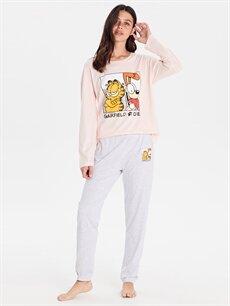 %100 Pamuk Standart Pijamalar Garfield Baskılı Pamuklu Pijama Takımı