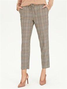 Kadın Yüksek Bel Ekoseli Esnek Havuç Pantolon