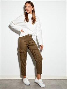 %64 Polyester %2 Elastan %34 Viskon Normal Bel Esnek Standart Pantolon Bilek Boy Kargo Pantolon