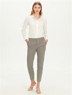 %54 Pamuk %42 Polyester %4 Elastan Normal Bel Esnek Standart Kumaş Pantolon Bilek Boy Çizgili Slim Kumaş Pantolon