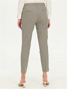 Kadın Bilek Boy Çizgili Slim Kumaş Pantolon