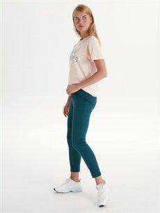 %98 Pamuk %2 Elastan Normal Bel Skinny Esnek Dar Paça Pantolon Bilek Boy Skinny Pantolon
