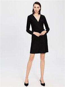 Siyah Kruvaze Yaka Çizgili Esnek Elbise 9WP185Z8 LC Waikiki