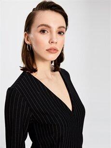 %29 Polyester %67 Viskoz %4 Elastan Kruvaze Yaka Çizgili Esnek Elbise