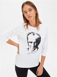 %100 Pamuk  Atatürk Portresi Baskılı Pamuklu Sweatshirt