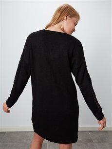 %80 Akrilik %20 Polyester V Yaka Kalın Triko Salaş Elbise