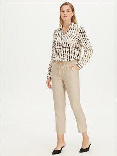 %13 Polyester %87 Viskoz Normal Bel Esnek olmayan Havuç Beli Lastikli Havuç Kesim Pantolon