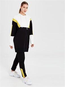 %100 Pamuk  Kapüşonlu Renk Bloklu Spor Sweatshirt