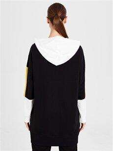 Kadın Kapüşonlu Renk Bloklu Spor Sweatshirt
