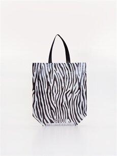 %100 Polipropilen  Zebra Desenli El Çantası