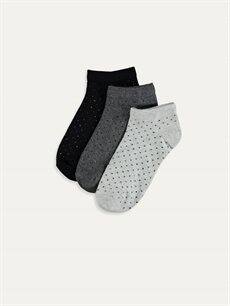 Ekru Desenli Patik Çorap 3'lü 9WP996Z8 LC Waikiki