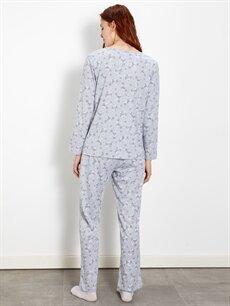 Kadın Çiçek Desenli Pamuklu Pijama Takımı