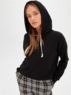 Siyah Kapüşonlu Düz Pamuklu Sweatshirt 9WQ285Z8 LC Waikiki