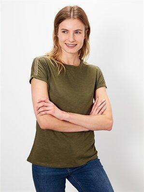 Kolları Şerit Detaylı Pamuklu Tişört - LC WAIKIKI