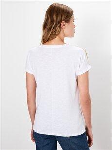 Kadın Kolları Şerit Detaylı Pamuklu Tişört