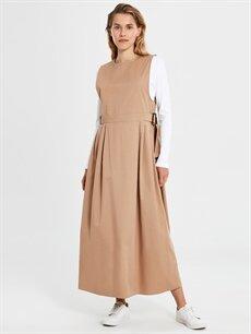 Bej Pamuklu Uzun Kloş Elbise 9WQ412Z8 LC Waikiki