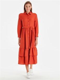 Kahverengi Belden Kuşaklı Viskon Gömlek Elbise 9WQ459Z8 LC Waikiki