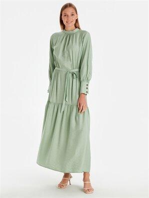 Beli Kuşaklı Uzun Düz Viskon Elbise - LC WAIKIKI