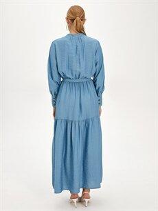 Kadın Beli Kuşaklı Uzun Düz Viskon Elbise