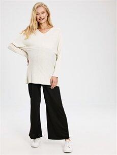 %95 Polyester %5 Elastan Pantolon Geniş Paça Hamile Pantolon