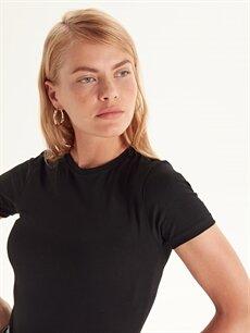 %96 Pamuk %4 Elastan Düz Basic Pamuklu Tişört