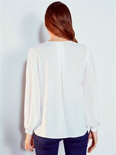 %100 Polyester Kolları Pile Detaylı Dokulu Kumaştan Bluz