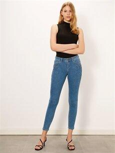 %84 Pamuk %14 Polyester %2 Elastan Normal Bel Dar Esnek Jean Taş Aplikeli Skinny Jean Pantolon