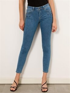 Kadın Taş Aplikeli Skinny Jean Pantolon