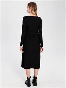 Kadın Kuşaklı Dokulu Kumaştan Elbise
