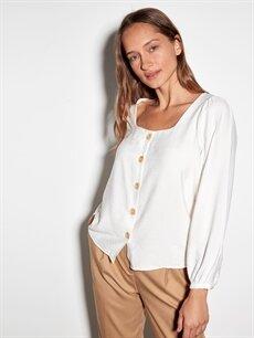 LC Waikiki Beyaz Kare Yaka Viskon Bluz