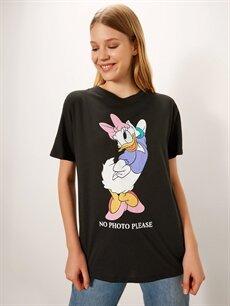 Siyah Daisy Duck Baskılı Pamuklu Tişört 9WR453Z8 LC Waikiki