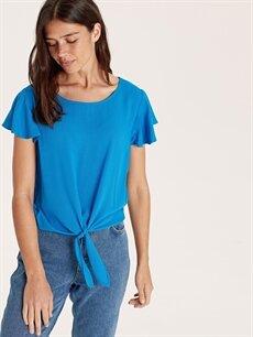 %100 Viskoz  Beli Bağlama Detaylı Viskon Bluz