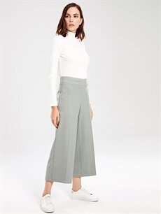 %64 Polyester %2 Elastan %34 Viskon Yüksek Bel Esnek Bol Geniş Paça Lastikli Bel Pantolon Bilek Boy Bol Paça Pantolon