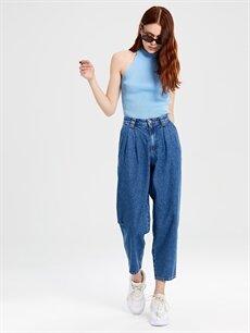 %100 Pamuk Yüksek Bel Bol Jean Yüksek Bel Bol Jean Pantolon